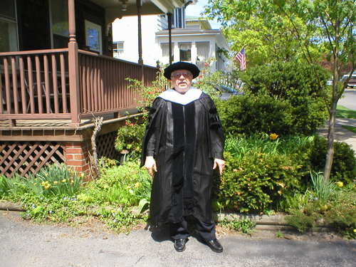 Lewis Turco in academic robes.